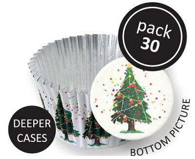 PME 30pk Christmas Tree Foil Standard Cupcake Cup Cake Muffin Party Baking Cases