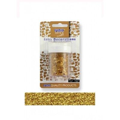 PME Glitter Flakes Cupcake Cup Cake Edible Sugarcraft Decorations Gold (7.1g)