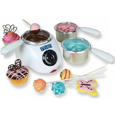 PME Electric Chocolate Candy Melt Buttons Melting Pot 2 Heat Settings 3 Pots EU