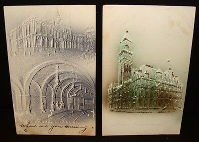 City Hall & Underground RR NY, Detroit Post Office 2  Vintage Embossed Postcards