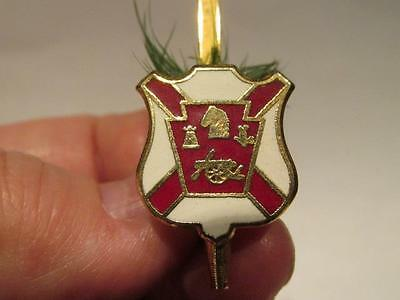 Pin with Rook, Knight, Cannon & Other symbol in Red Crest with X plus Grass Tuft