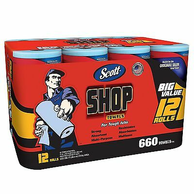 Scott Blue Original Multi Purpose Paper Shop Towels 12 Rolls Case 55 Sheets Roll