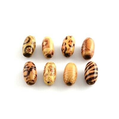 Packet 50+ Brown/Mixed Wood 8 x 15mm Oval Beads HA23000