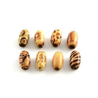 Packet of 50+ Brown/Mixed Wood 8 x 15mm Oval Beads HA23000