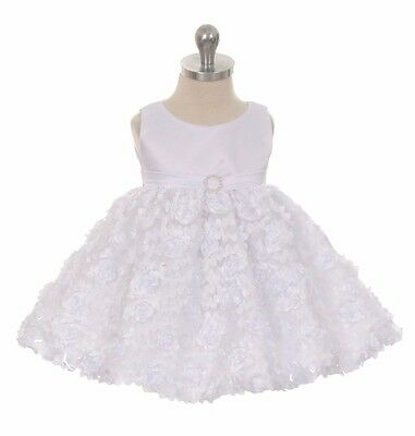 New Baby Toddler Girls Infant White Dress Pageant Birthday Wedding Party Formal