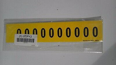 "Number Label 0, Yellow, 1""x9/10"" Pk5 (M1108)"
