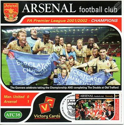 Arsenal 2001-02 Man United, (Premier League) Football Stamp Victory Card #138