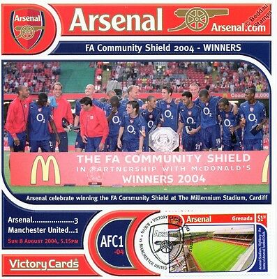 Arsenal 2004-05 Man United (Charity Shield) Football Stamp Victory Card #401