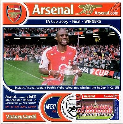 Arsenal 2004-05 Man United (Patrick Vieira) Football Stamp Victory Card #437