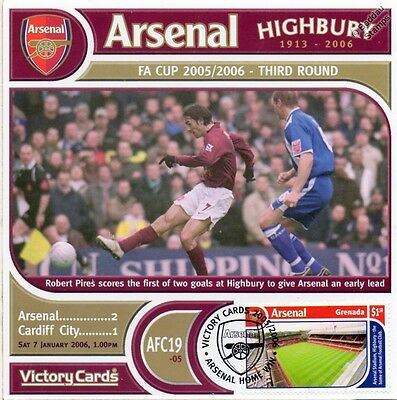 Arsenal 2005-06 Cardiff City (Robert Pires) Football Stamp Victory Card #519