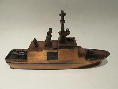 "Destroyer Copper-Look Metal 4 1/4"" Ship with Box Made in China"