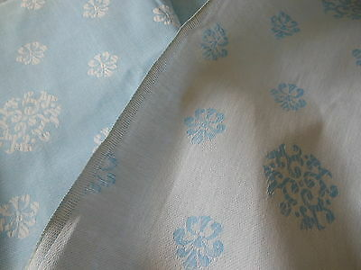 Vintage French  Medallion Scroll Sky Blue White Metis Ticking Damask Fabric ~