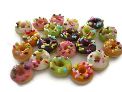 20 Loose White Chocolate Donuts Dollhouse Miniatures Food  Bakery Deco