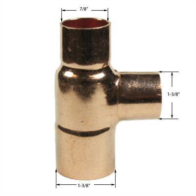 """Bag of 3pc.1-1/4x3/4x1-1/4"""" Copper Reducing Tee All Sweat"""