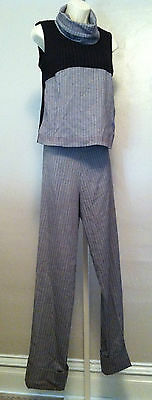 Noppies Maternity M Sleeveless Turtle-Neck Top & PinStripe Pants Set BNWT $100+