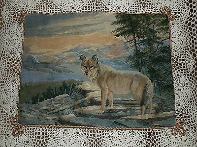 Handmade Needlepoint Petite Point Pillow- Wolf in Forest