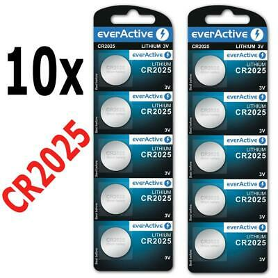 10 x everActive CR2025 Lithium 3Volt! CR 2025 BLISTER NEU Ø 20mm , Höhe 2,5mm