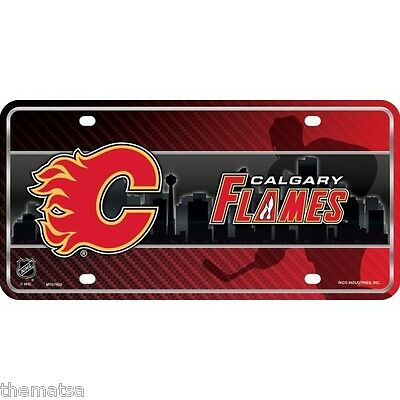 Calgary Flames Metal Novelty License Plate with Sticky Notes