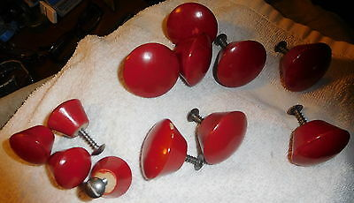 "Vintage Lot of 12 wood drawer pulls,8 of 1.5"",4 of 1 inch wide,door knobs screws"