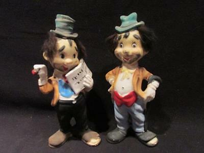 "Hobo Clowns with Furry Black Hair Pair of Mid-Century 7"" Figurines"