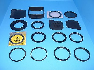 lot of 16 Cokin pieces - filter adapter rings 48 49 52 58 62mm lens caps & more
