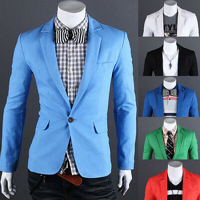 New Casual Stylish Mens Slim Fit One Button Suit Formal Coat Jacket Blazers