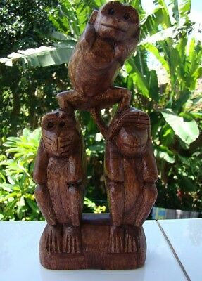 Fair Trade Wooden Carving See Hear Speak No Evil 3 Wise Monkeys Monkey Statue
