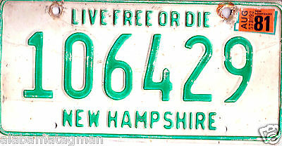 """1981 New Hampshire~106429 """"live Free Or Die"""" ~License Plate~Tag"""