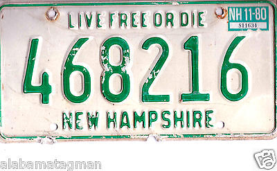 """1980 New Hampshire~468216 """"live Free Or Die"""" ~License Plate~Tag"""