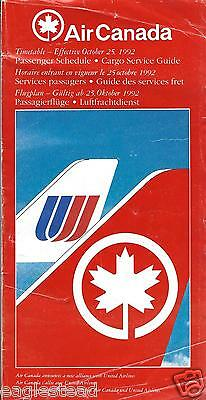 Airline Timetable - Air Canada - 25/10/92 - UA AC Alliance cover