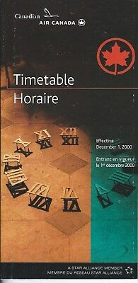 Airline Timetable - Air Canada - Canadian - 01/12/00
