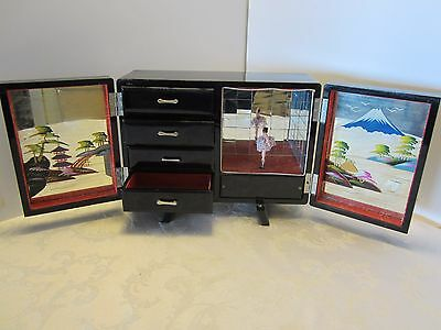 """JAPAN LACQUER JEWELRY MUSIC BOX w/ DANCING doll Mirrors PAGODAS Abalone 12 x 9"""""""