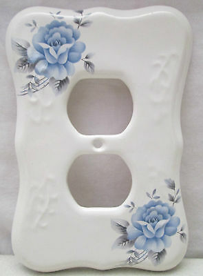 Vintage TH Athena USA Porcelain Double Outlet Cover Blue Rose Flower