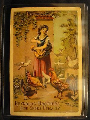 Vintage REYNOLDS BROTHERS SHOES CHICKENS advertisment card VICTORIAN