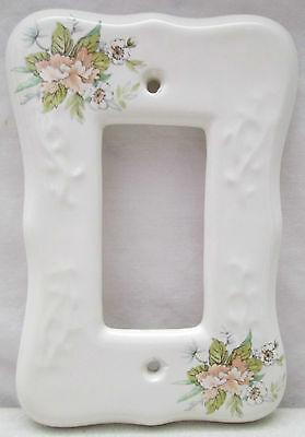 Vintage TH Athena USA Porcelain Rocker Light Switch Cover White Flowers Floral