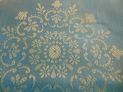 Antique Vintage Cerulean Azure Blue Folksy Floral Damask Ticking Fabric
