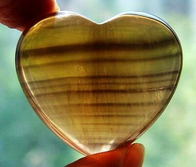 """1.6"""" Natural Fluorite Crystal Carving Art Heart gift"""