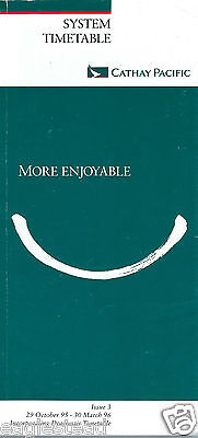 Airline Timetable - Cathay Pacific - 29/10/95 - Issue 3