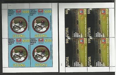 GUYANA 2011 ICC 10th CRICKET WORLD CUP Set of 2 Values Complete SHEETS of 4 MNH
