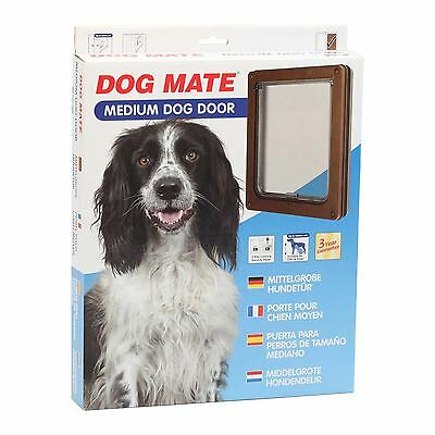 Dog Mate Pet Dog Door Flap Dogs & Cats Medium Brown 215 215B Flap size 26 x 22cm