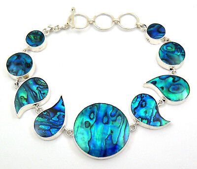 Natural Blue Paua Abalone Shell 925 Sterling Silver Bracelet Women Jewelry SF051