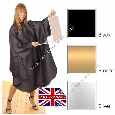 Hairdressing Gown Cape Satin Smooth Hair Tools. Colours Black Silver or Bronze