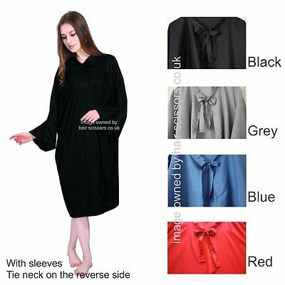 Hairdressing Gown With Sleeves Tie Neck All Colours Stocked. Polyester. Dolly