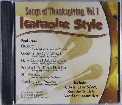 Songs of Thanksgiving Volume 1 Christian Karaoke Style NEW CD+G Daywind 6 Songs