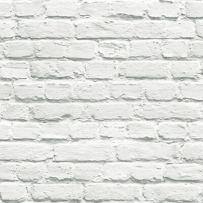 Muriva Painted White Brick Wallpaper 102539 - Feature Wall Photographic