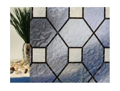 "Blue Leaded Glass Static Cling Window Film, 36"" Wide x 6.5 ft"
