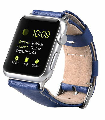 Genuine MELKCO PREMIUM Leather Strap for Apple Watch 42mm (BLUE Split) O1817