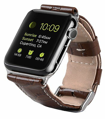 Genuine MELKCO PREMIUM Leather Strap for Apple Watch 42mm (Brown CROCO) O1818