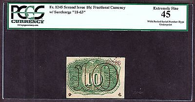 US 10c Fractional Currency 2nd Issue FR 1245 VAR w/ S/Number Under-print PCGS 45