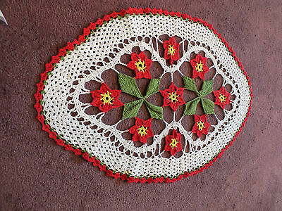 Beautiful Collectible Handmade Doily White Lime Red Yellow 20 x 13 Inch WOW